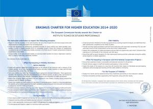 ERASMUS Charter fot Higher Education 2014-2020